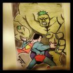 Superman fighting Hulk? Oh yes. @penciltree or Nik Towers send his love.