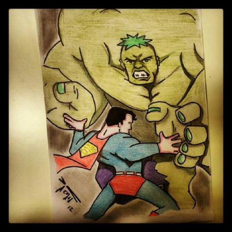 Superman fighting Hulk? Oh yes. @penciltree or Nik Towers send his love.