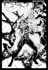 @NormRampund and Brett Booth team up to bring a crazed (Jokerized?) Superboy BW issue #18 cover.